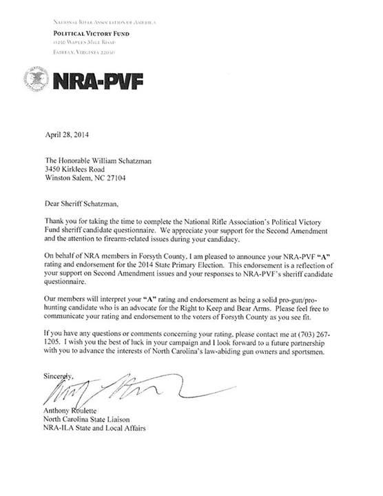 Grass Roots North Carolina GRNC Alert 43014 NRA Endorses – Endorsement Letter for Employment