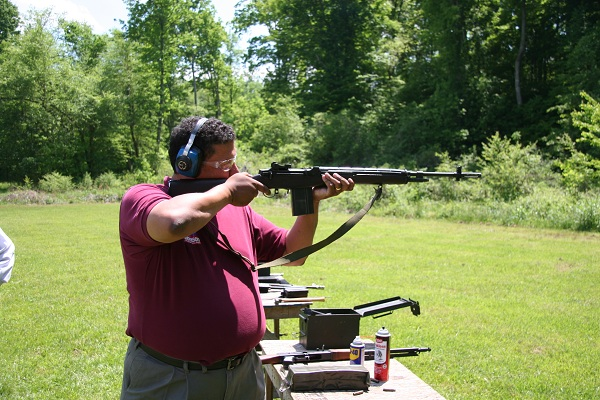 Congressional candidate Vernon Robinson firing M-14. Photo by Jim Parker.